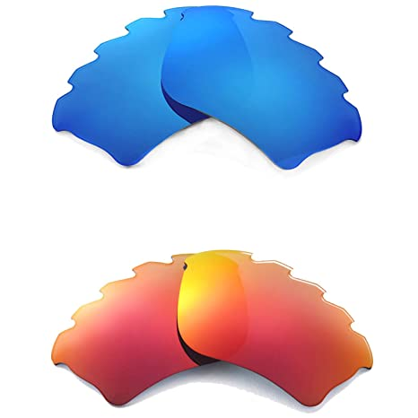 113f4f0084 Amazon.com   Walleva New Polarized Ice Blue + Fire Red Vented Lenses For  Oakley Half Jacket XLJ   Sports   Outdoors