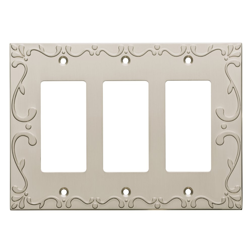 Franklin Brass W35079-SN-C Classic Lace Triple Decorator Wall Plate/Switch Plate/Cover, Satin Nickel