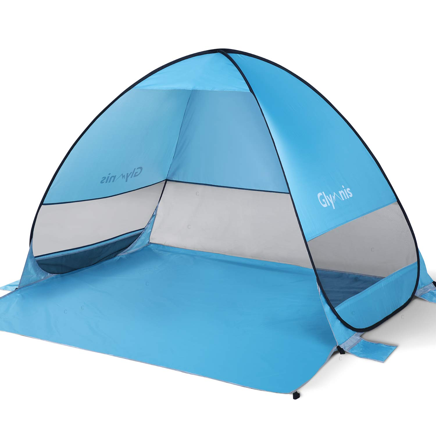 Glymnis Beach Tent Beach Sun Shelter Pop Up Beach Shade Tent with Portable Sun Shade UPF 50+ for Outdoor Activities Beach Traveling Blue by Glymnis