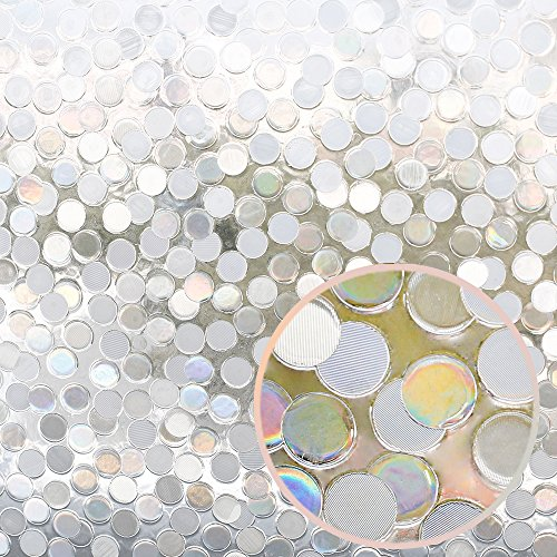 """RABBITGOO No Glue Privacy Window Film Decorative Window Film Static Cling Window Film Circles Pattern Glass Film for Home Kitchen Office Bedroom Living Room 17.5"""" x 78.7'' by RABBITGOO (Image #7)'"""