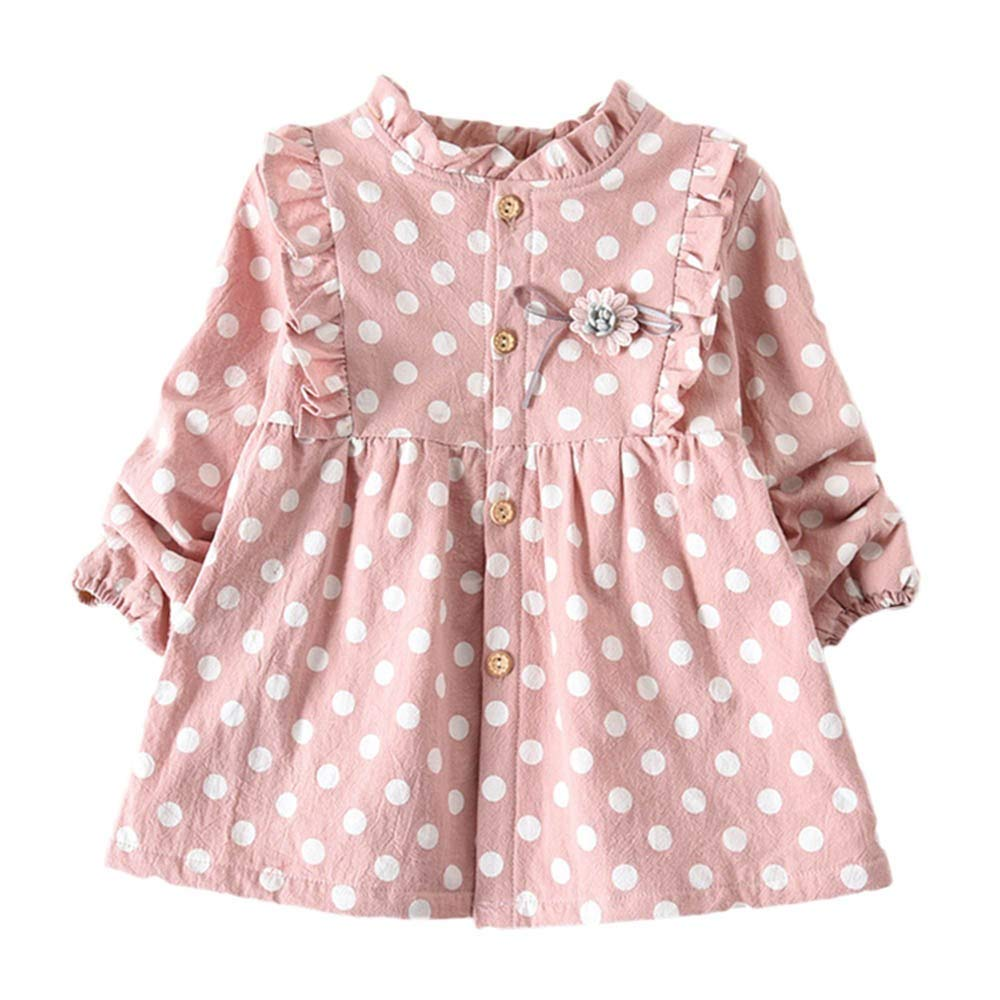 Zerototens Girls Clothes,0-5 Years Old Toddler Infant Girls Long Sleeve Thick Polka Dot Print Princess Dress Autumn Winter Child Warm Blouse Tops Kids Casual Outfit Clothes