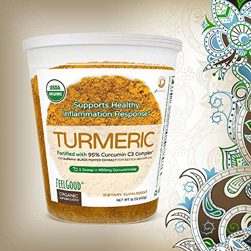 Feel Good Organic Turmeric w Curcumin Powder, 16 Ounces