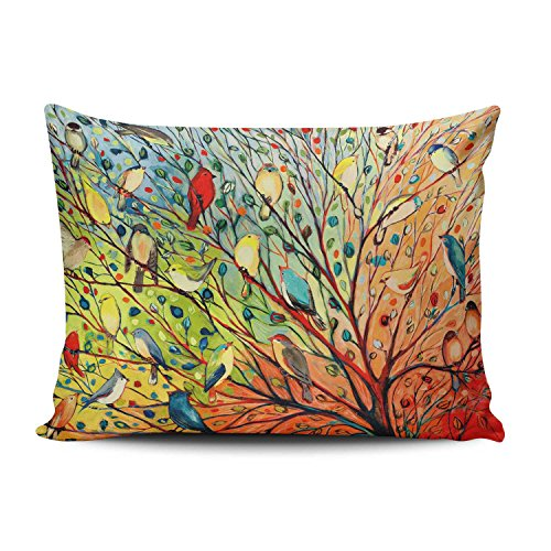 KEIBIKE Personalized Abstract Trees and Birds Boudoir Rectangle Decorative Pillowcases Print Zippered Throw Pillow Covers Cases 12x16 Inches One Sided ()
