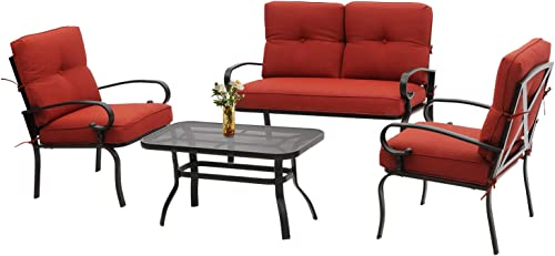 Incbruce 4Pcs Outdoor Indoor Patio Furniture Conversation Set Loveseat