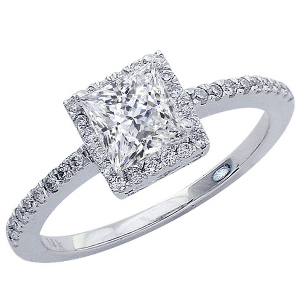 0.42 Cttw 14K White Gold Princess Cut Classic Square Halo Style Diamond Engagement Ring with a 0.2 Carat F-G Color VS1-VS2 Clarity Center