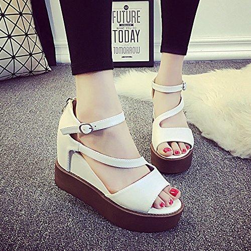 High Femme Chaussures Épais Pente Des Élégant Bouche Avec EU38 Gâteau Éponge SHOESHAOGE Sandales Taiwan Poisson Avec Étanches Heeled w8PIZIAq