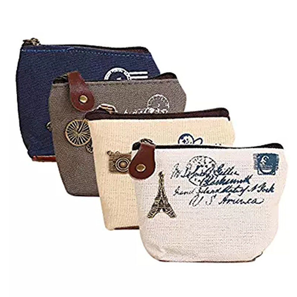 YUHUAWYH Coin Cases Bags Card Purse Zip Wallets Pack of 4