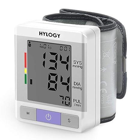 HYLOGY Tensiómetro de Muñeca, Totalmente Automático Presión Arterial y Detección de Pulso Arrítmico, Memoria (2 * 120)