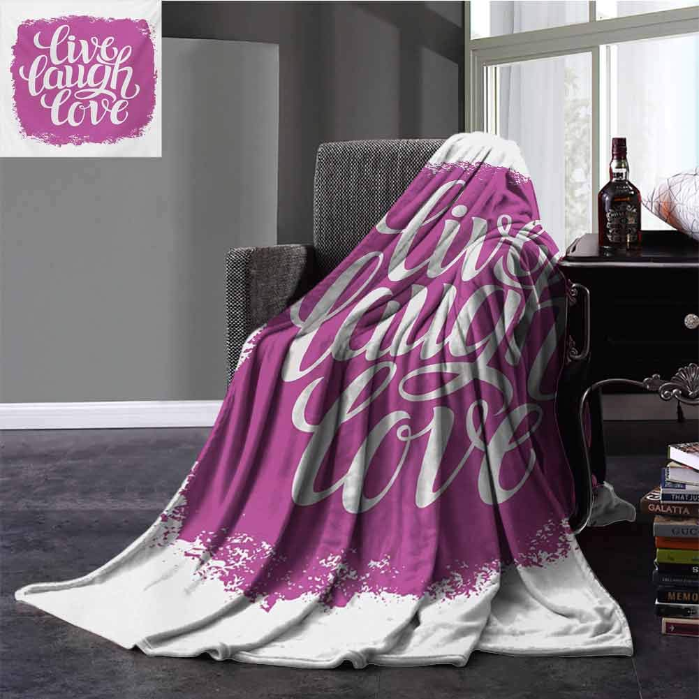 Live Laugh Love Comfort Blanket Motivational Lifestyle Typography on Paintbrushes Urban Illustration Baby Small Fleece Blanket Twin Size Fuchsia White 60x70 Inch