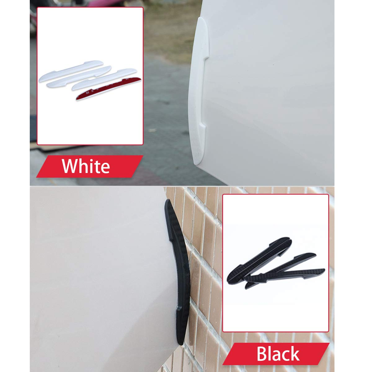 EKIND Self Adhesive Car Side Door Guard Edge Protector Fit for Most Car 8 pcs Set, White