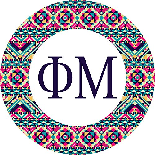 Phi Greek Letter (Phi Mu Sorority Tribal with Letters Sticker Decal 3 Inch Greek for Window Laptop Computer Car)