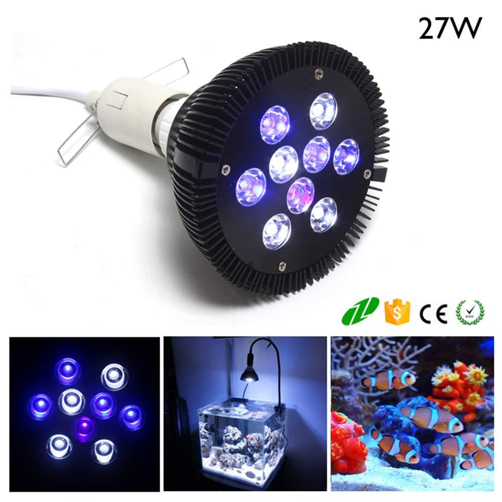 LED Aquarium Light Bulb, Plant Grow Light Bulb, bluee and White LED Aquarium Light for Indoor Plants Veg and Aquarium Plants Growing 27W Par