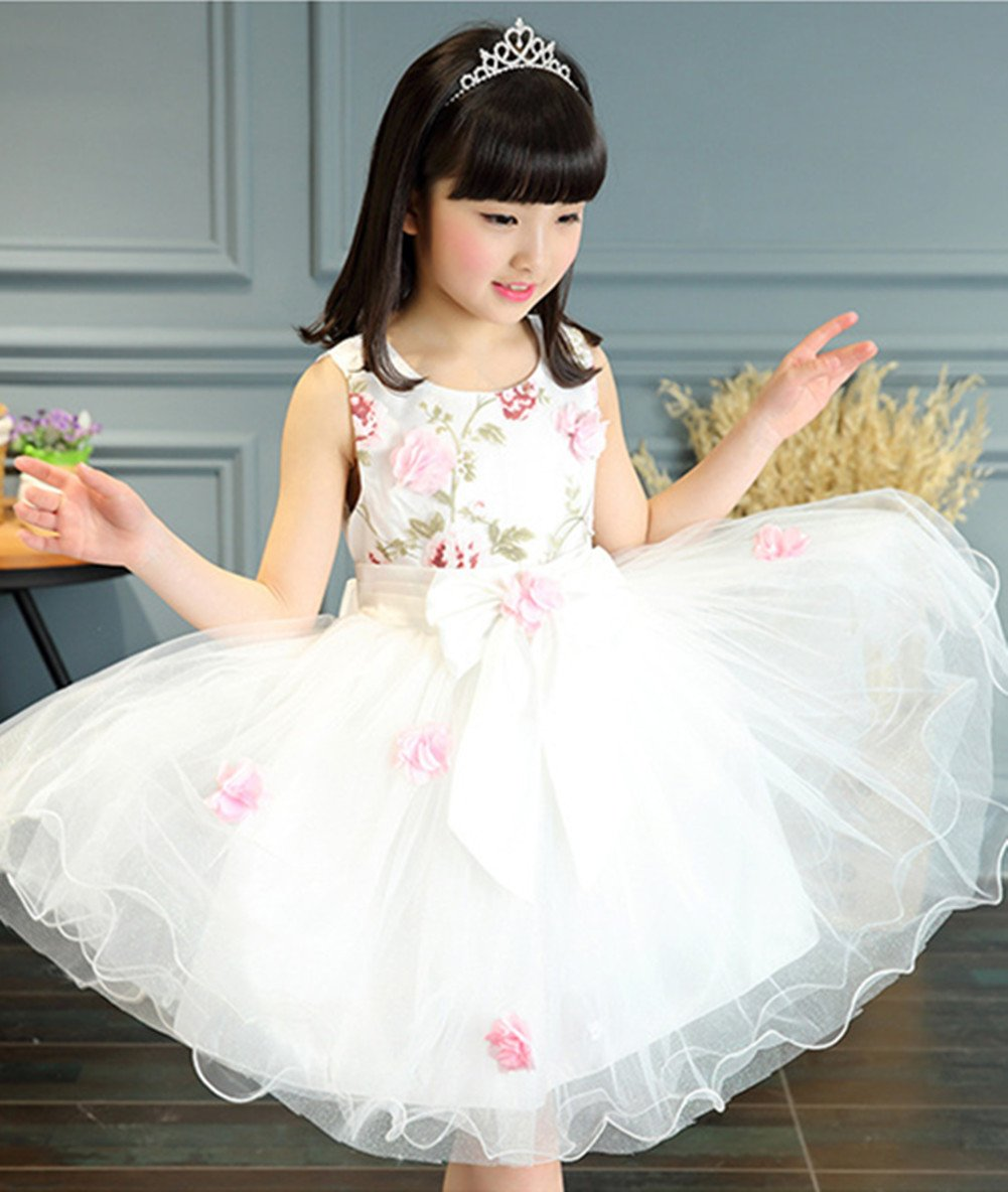 FTSUCQ Girls Floral Printed Bowknot Twirling Princess Dress (120(6-7Y), White) by Dillian Dress (Image #4)