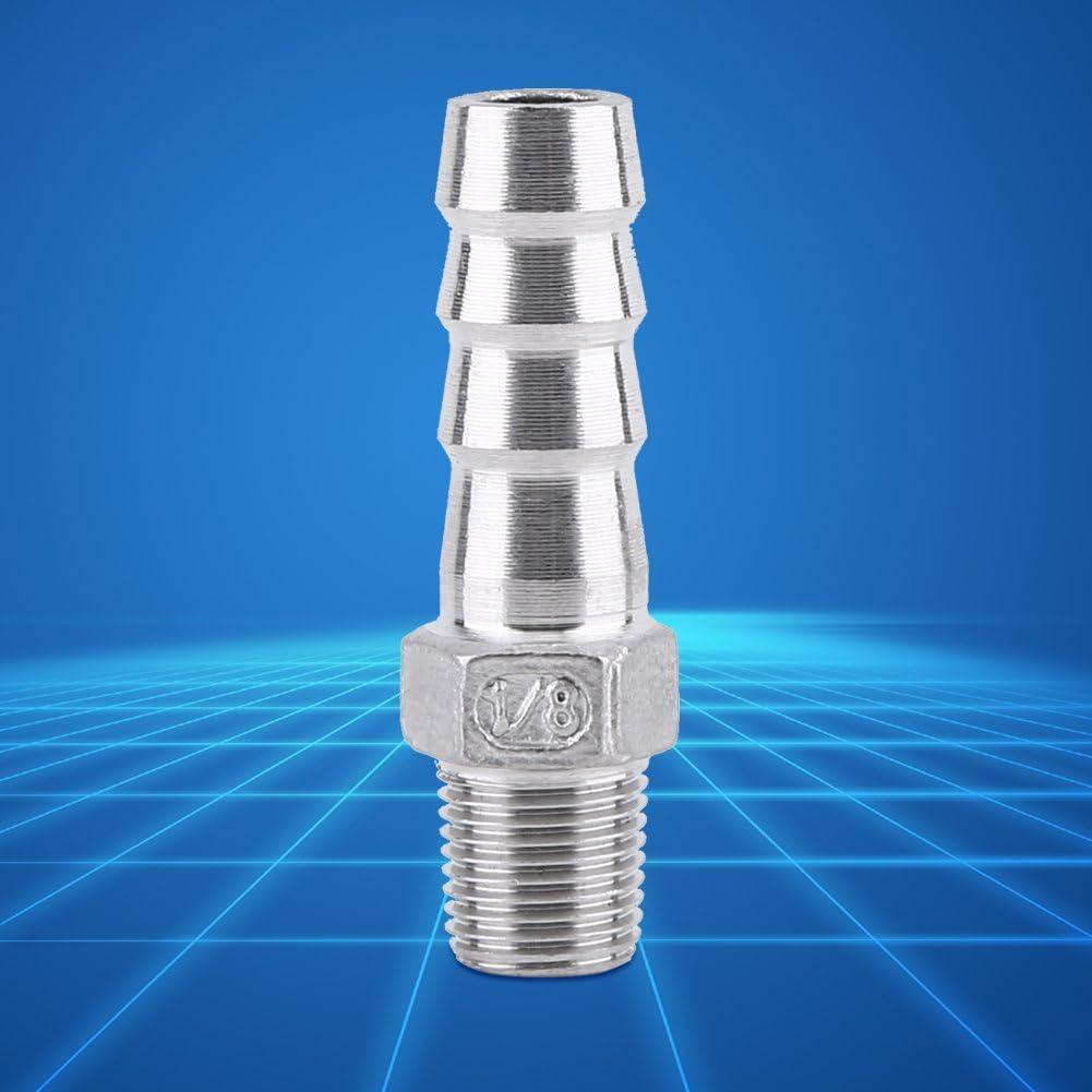 1//2x8mm Tubo de Rosca Macho SS304 de Acero Inoxidable que Encaja el Conector de la Cola de la Manguera de Barb BSP 1//8~ 3//4
