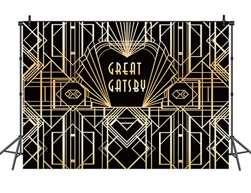 10x10ft Great Gatsby Backdrop Photography Backdrops for Party Gold and Black Banner Gatsby Backdrop Studio Photo Background Golden Deco Style Backdrops -