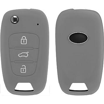 Silikon Schlüssel Hülle Audi A6L 3-Tasten grau Klappschlüssel