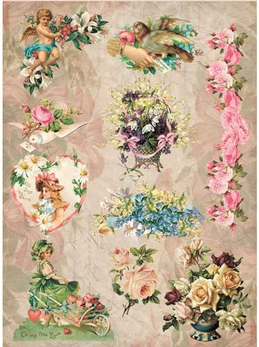 Rice Paper for Decoupage  Romantic Roses 1 Scrapbooking Sheet Craft Vintage