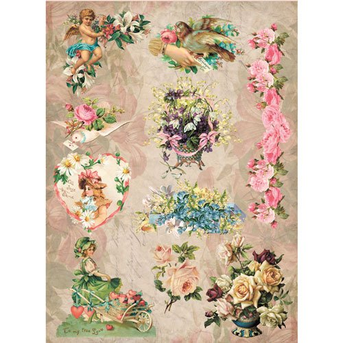Rice Paper for decoupage. Romance: Birds, Flowers. Made in Russia (~ 11,1 x 15,11 inches)
