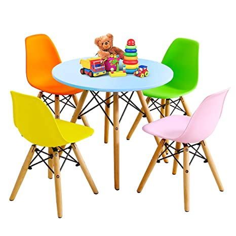 Marvelous Costzon Kids Table And Chair Set Kids Mid Century Modern Style Table Set For Toddler Children Kids Dining Table And Chair Set 5 Piece Set Colorful Gmtry Best Dining Table And Chair Ideas Images Gmtryco