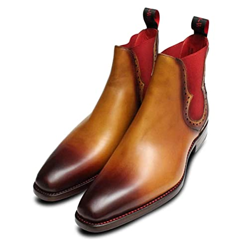 37ff5bd0e9 Jeffery West Light Brown Red Elastic Chelsea Boots-Mens UK 10 ...