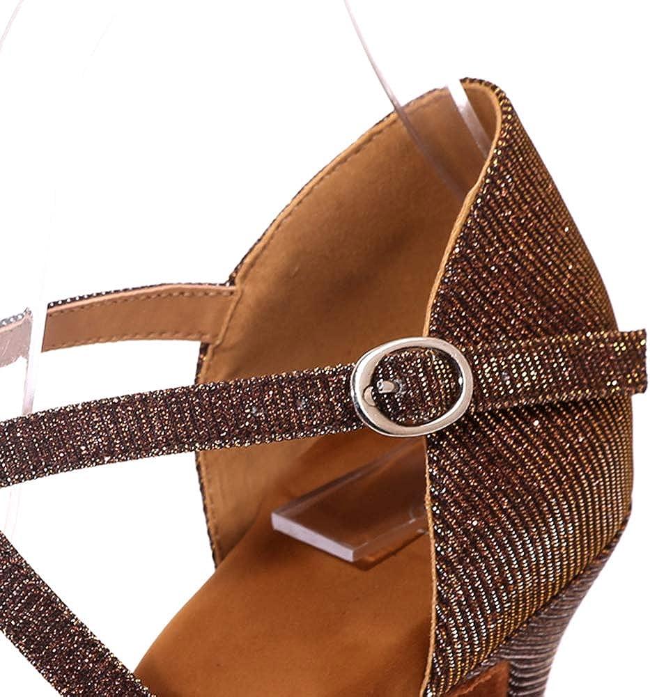Sandali Latino Scarpe da Ballo della Salsa delle Donne, Suola Morbida Tango Scarpe, Sala da Ballo Prestazioni Peep Toe Tacchi Alti Brown R2KjaH