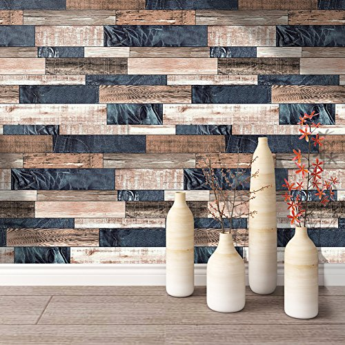 HaokHome 171102 Distressed Faux Wood Plank Wallpaper Panels Brown/Tan/Jeans Blue for Home Kitchen Accent Wall Decor 20.8