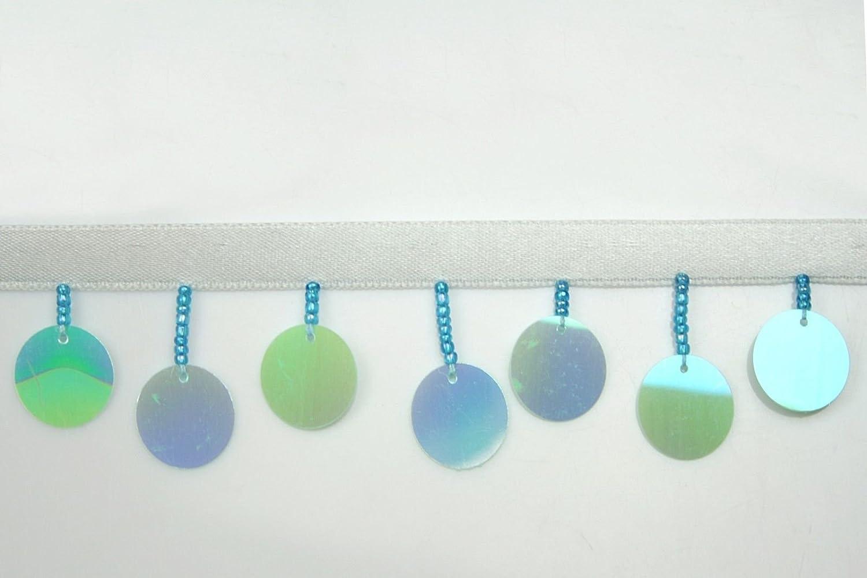 Altotux - Abalorios redondos de cristal de lentejuelas multicolor de 3,81 cm con cinta de 0,95 cm