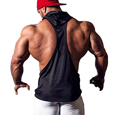 3071e2380 YiZYiF Men's Hooded Gym Tank Tops Bodybuilding Stringer Muscle Workout  Shirts Black Small