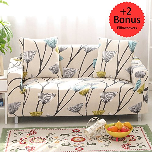 """Sobibo Spandex Fabric Stretch Couch Cover Slipcover for 3 Cushion with 2 Pillow Covers 70""""-90"""" (Dandelion, Loveseat)"""