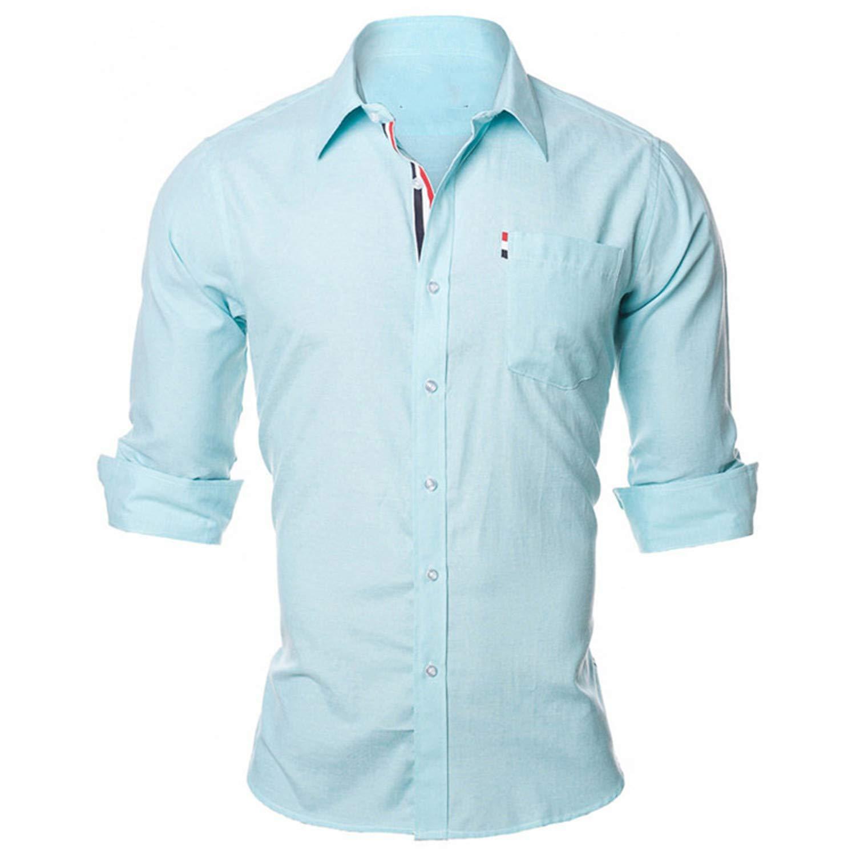 US Europe Size S-XXL Susan1999-mendressshirts Men Shirt Solid Color Design Cotton Casual Business Male N936