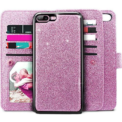iPhone 8 Plus Case, iPhone 7 Plus Case, Miss Arts Girls Women Glitter Detachable Slim Case with Car Mount Holder, 9 Card Slots, Magnet Clip, PU Leather Wallet for Apple iPhone 7 Plus 8 Plus -Purple