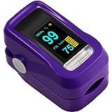 Saturimetro Pulsossimetro Digitale Portatile con Display OLED per Frequenza Del Polso (PR) e La Saturazione di Ossigeno (SpO2) Misure, Batterie AAA non Incluse (viola)