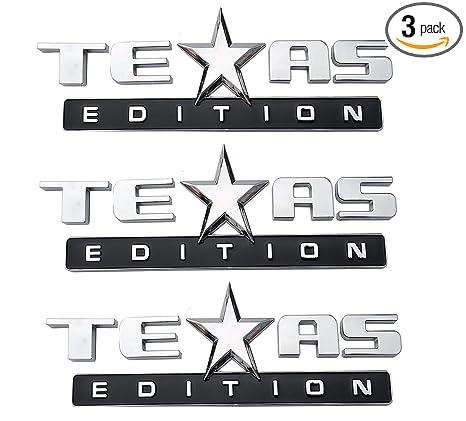 3 Pack Texas Edition Emblem, 3M Self Stick On Badge for Chevrolet Sierra Chevy Silverado