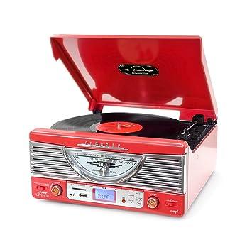 Pyle PTR8UR Rojo tocadisco - Tocadiscos (Rojo, 45 RPM, RCA, SD, 3 ...