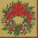 Entertaining with Caspari 13411D Evergreen Wreath Gold Dinner Napkins, Pack of 20, Multicolored
