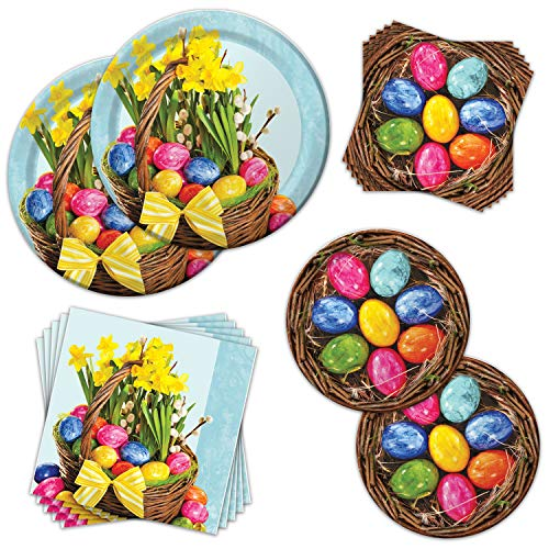 Easter Beautiful Basket Party Pack - Serves 16 Guests - Happy Easter Party Supplies Bundle with Paper Plates, Napkins. Vividly-Colored Easter Basket with Eggs -