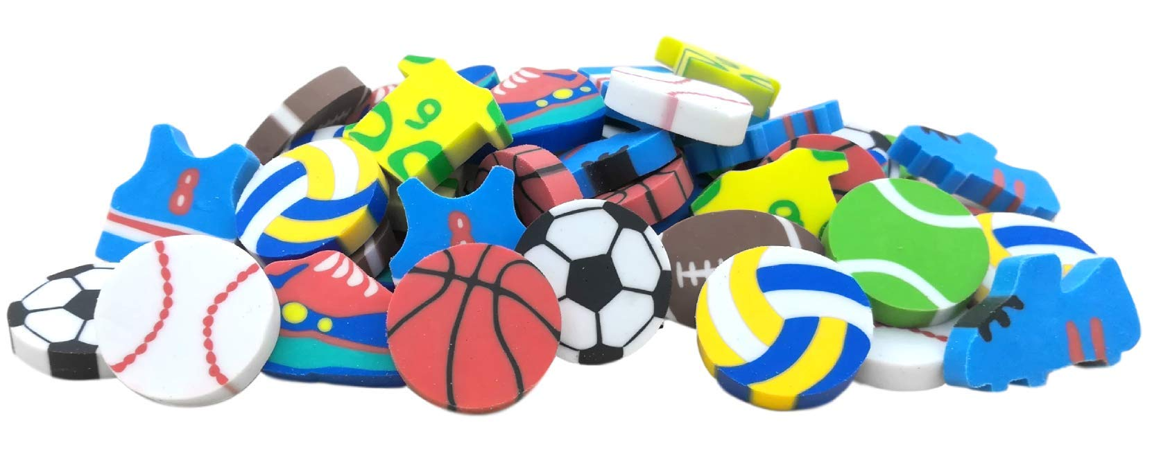 OHill Pack of 100 Sports Pencil Erasers Novelty Erasers for Sports Party Favors for Kids School Classroom Prizes Rewards Valued Pack by OHill (Image #3)