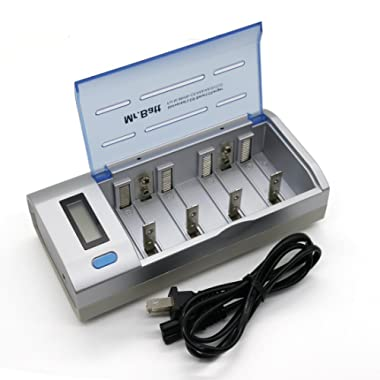 Smart AA Battery Charger, Mr.Batt Battery Charger for Ni-MH Ni-CD C D AA AAA 9V Rechargeable Batteries with Discharge Function & LCD Display
