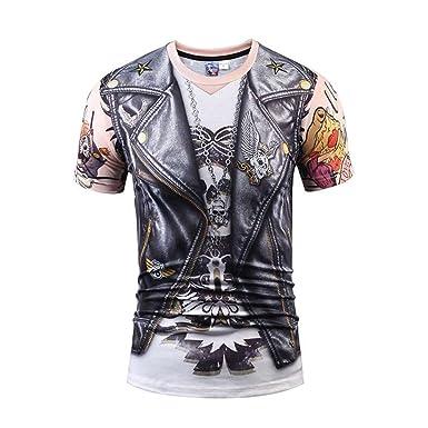 1fe4b42ac0546 Bluepistil Designer Rock 3D Print T-Shirts Men Hip Hop Stylish Skull Letter  Tops Black Fake Leather Shirt  Amazon.co.uk  Clothing