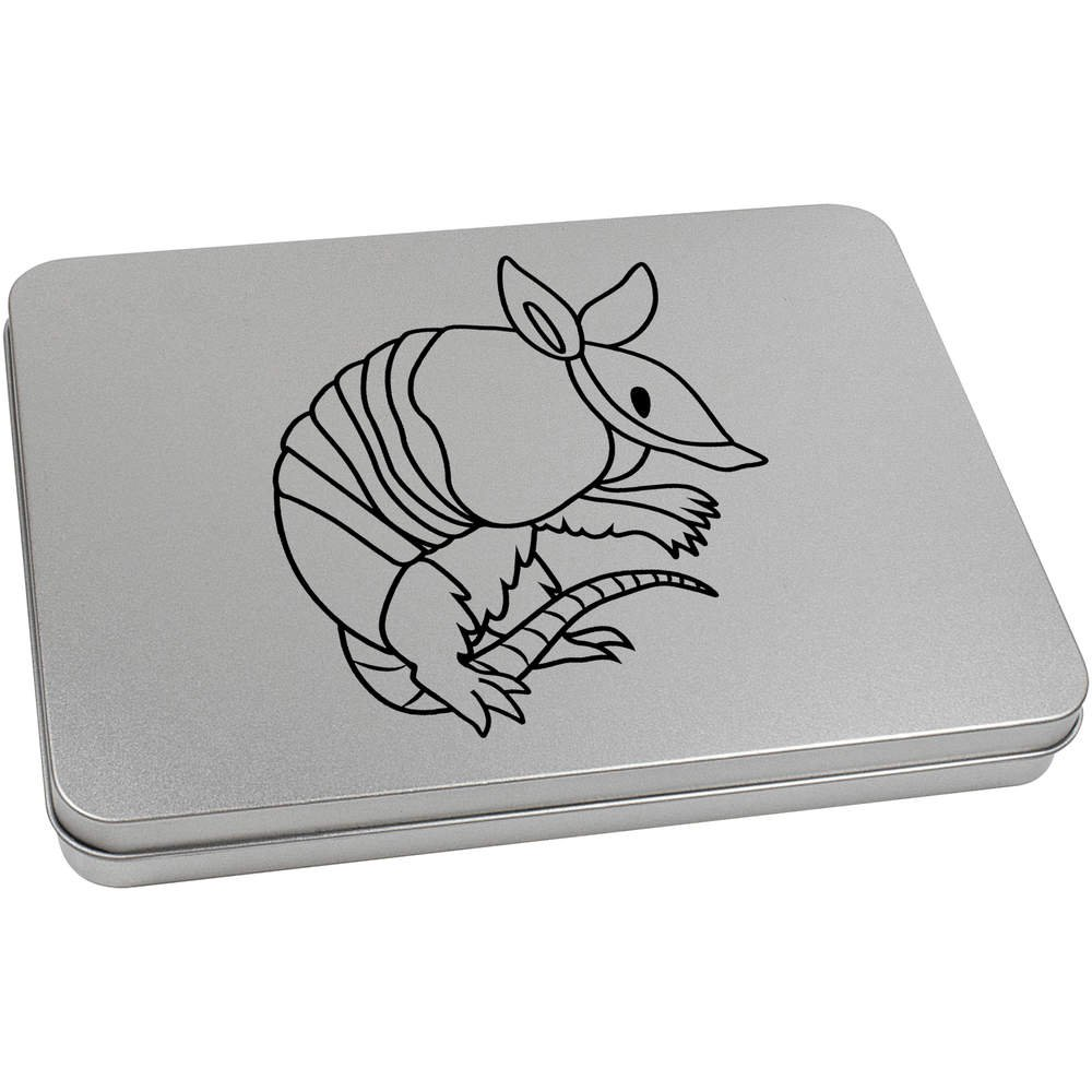 Azeeda 220mm 'Armadillo' Metal Hinged Tin / Storage Box (TT00003260)