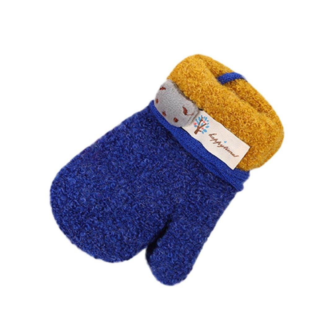 Gallity 3-8 Years Old Baby Cute Thicken Cartoon Mittens Girls Boys Winter Warm Gloves with Strap (Dark Blue)