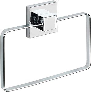 WENKO Vacuum-Loc Towel Ring Quadro, 18.5 x 3.5 x 14 cm, Silver Shiny