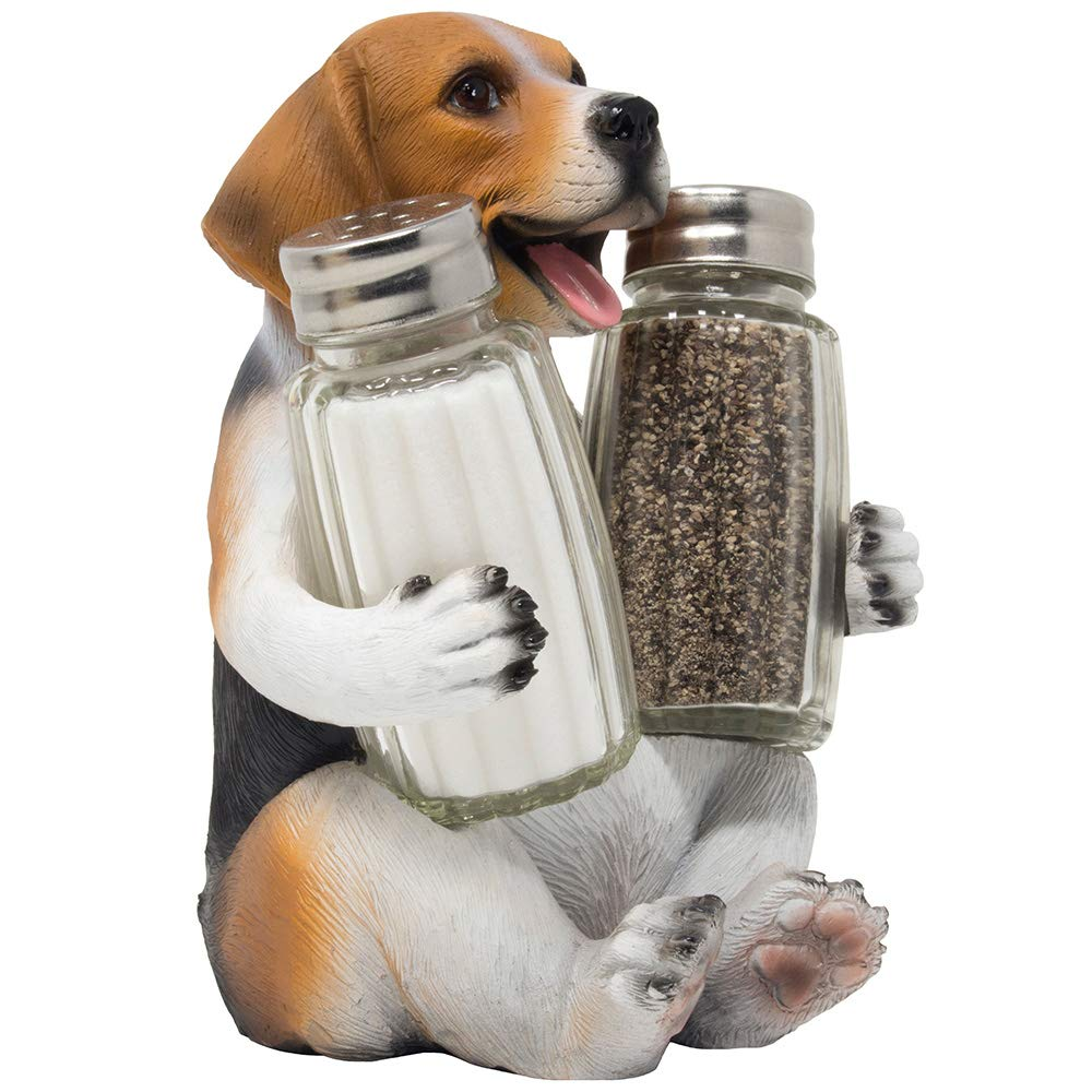 Beagle Puppy Dog Glass Salt and Pepper Shaker Set with Decorative Hound Display Stand Holder Figurine for Kitchen Counter Décor Table Centerpieces or Spice Rack Decorations As Gifts for Pet Lovers