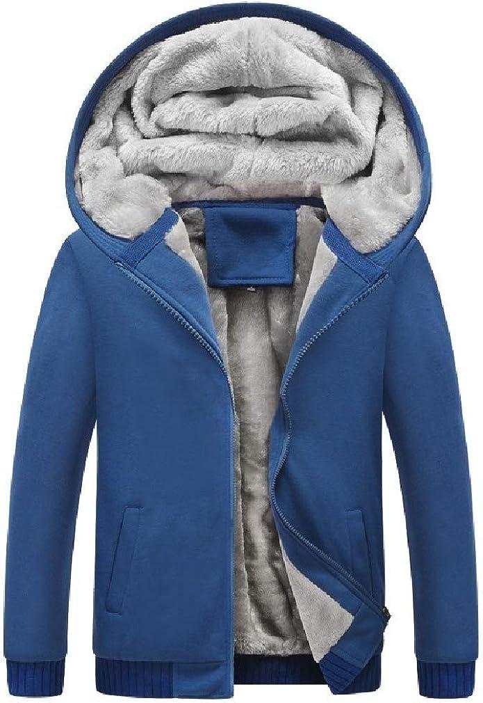 Doufine Men Pocketed Sleeve Zipper Skinny Hooded Solid Long Fleece Sweatshirt