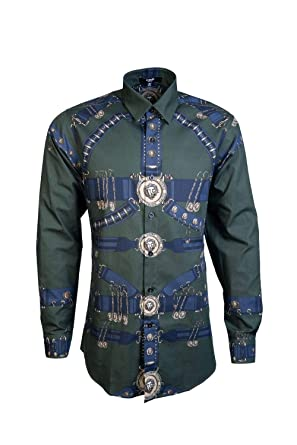 b330e440 Amazon.com: Versace Mens Smart Shirt BU20306 BT10830 Size 48 Green ...