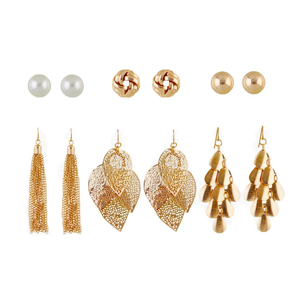 6 Pairs Drop Earrings, Tassels Leaf Geometric Long Earrings For Women, Stud Earrings Set PINKH
