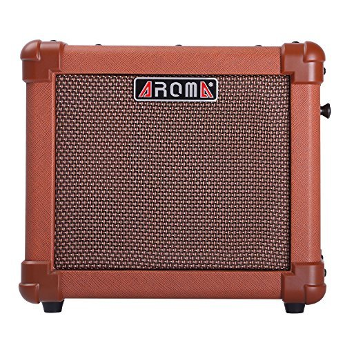 Aroma Acoustic Guitar Amp 10W Guitar Amplifier Speaker Box Handy Portable Acoustic Guitar AMP Sound for Guitar Bass(Brown)