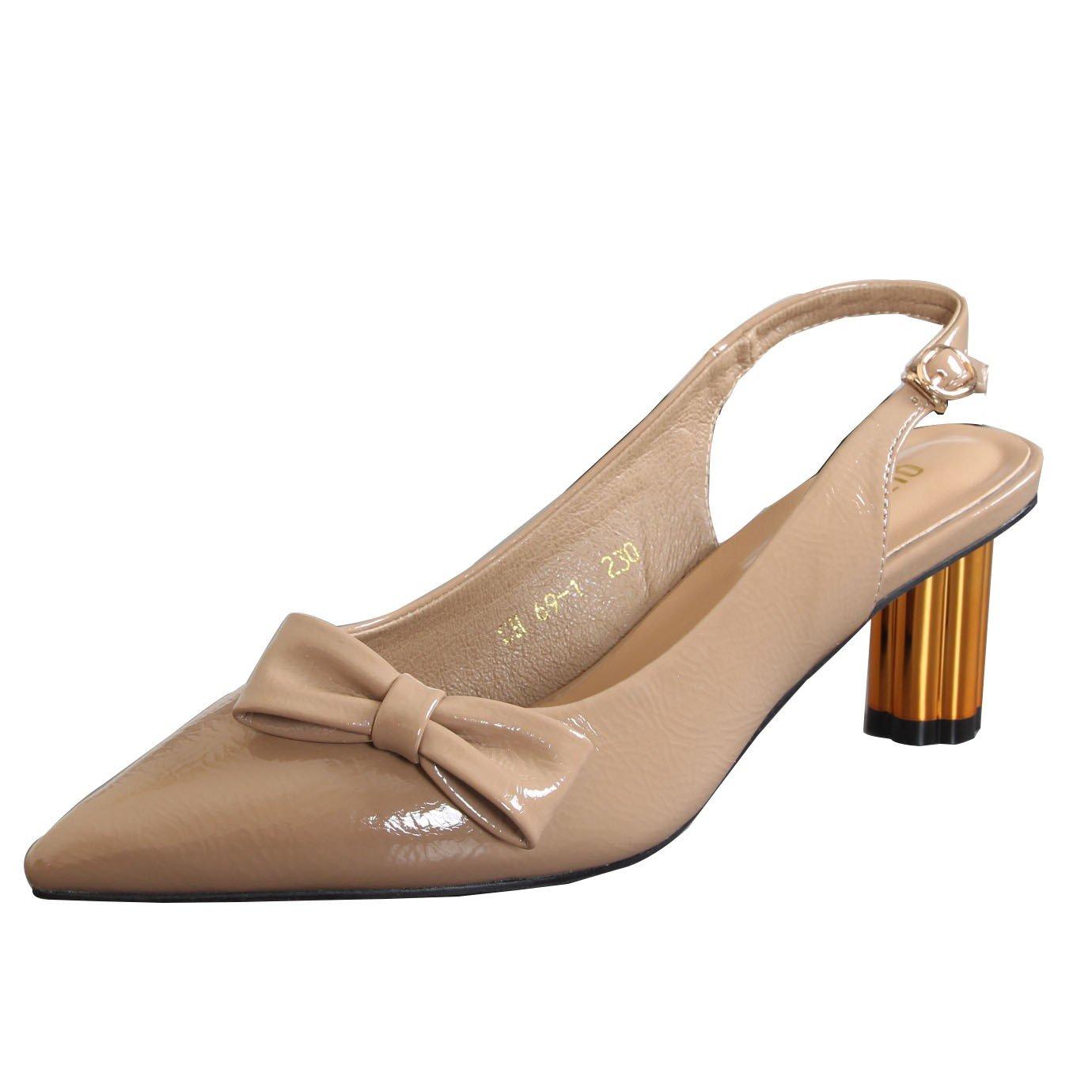 KPHY Damenschuhe Weiblich Im Frühling und Sommer Scharf Darauf Flachen Mund Metall Dicke Sohle 7Cm Hochhackigen Schuhe Fliege Süß Schnalle Sandalen.