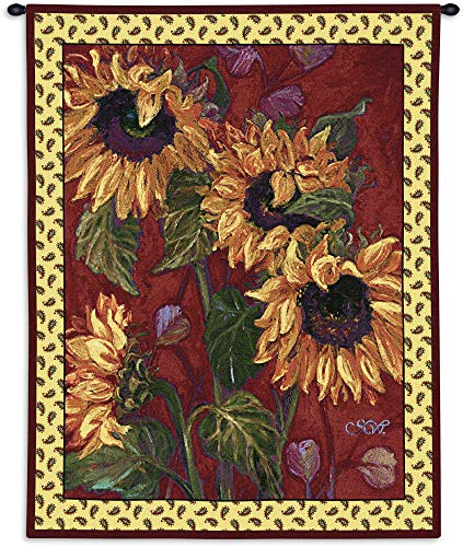 French Sunflower II | Woven Tapestry Wall Art Hanging | Warm Fiery Sunflower Painting | 100% Cotton USA Size 51x42