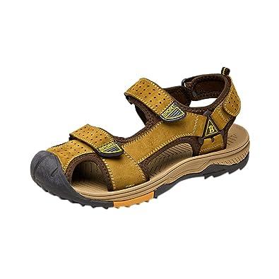 b3ae22bf0322 Wentsven Women Leather Closed Toe Fisherman Hiking Sandals Khaki 7 D(M) US